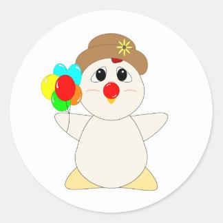 Payaso Huggable del pollo Etiqueta Redonda
