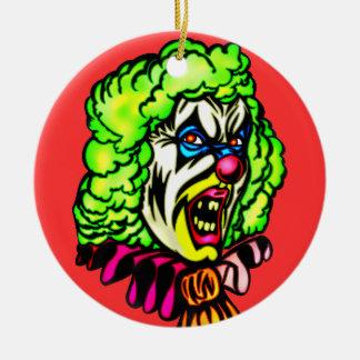 Payaso malvado en peluca encrespada adornos de navidad
