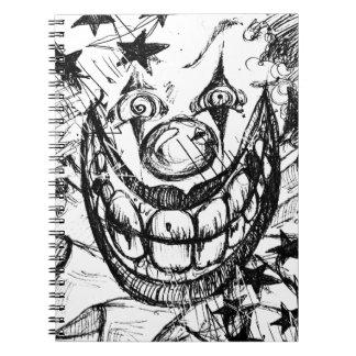 Payaso malvado libro de apuntes con espiral