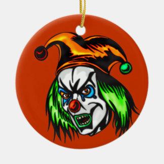 Payaso malvado mentalmente insano ornamento de navidad