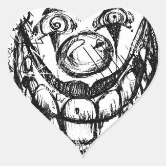 Payaso malvado pegatina en forma de corazón