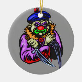 Payaso malvado repulsivo ornamentos de navidad