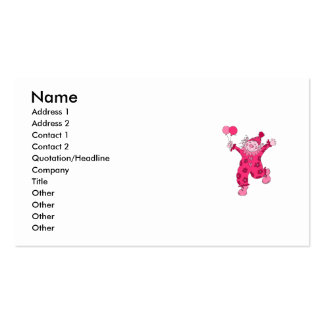 Payaso rosado lindo tarjeta personal