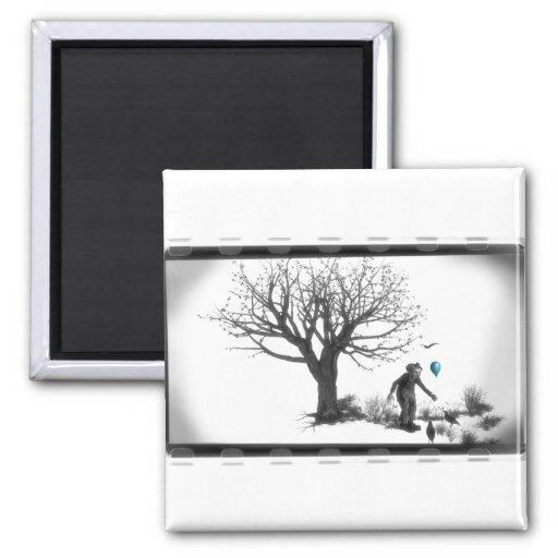 Payaso y cuervos del globo por el árbol espeluznan imanes
