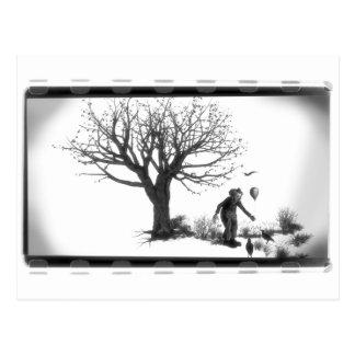 Payaso y cuervos del globo por el árbol postal