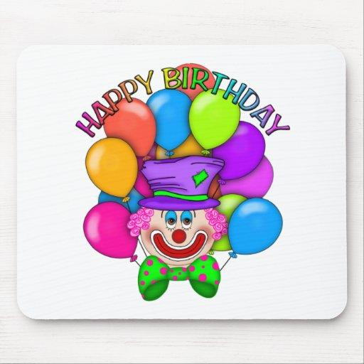 Payaso y globos del feliz cumpleaños tapete de ratones