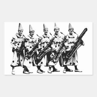 Payasos 1920 del jazz, negros rectangular pegatina