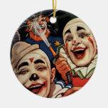 Payasos de circo del vintage, chistoso divertido adorno de navidad