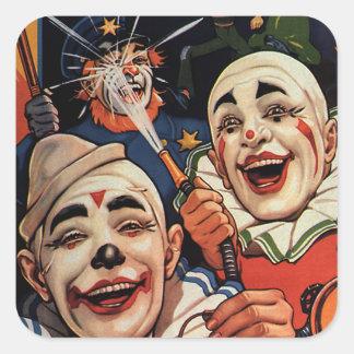 Payasos de circo del vintage, chistoso divertido pegatina cuadradas personalizada