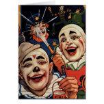 Payasos de circo del vintage, chistoso divertido t tarjetón