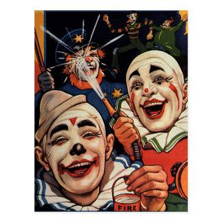 Payasos de circo del vintage, chistoso divertido postales