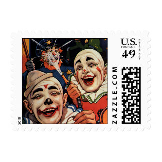 Payasos de circo del vintage, chistoso divertido timbre postal