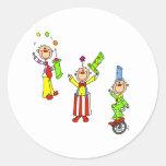 Payasos de circo etiquetas redondas
