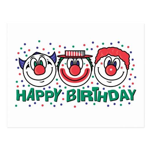 Payasos del feliz cumpleaños tarjeta postal