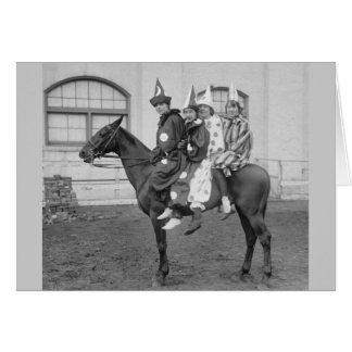 Payasos en un caballo, 1915 tarjeta de felicitación