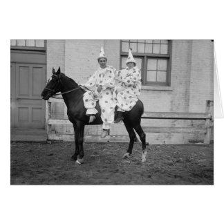 Payasos en un caballo, cumpleaños tarjeta de felicitación