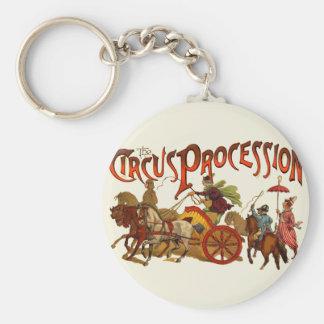 Payasos y caballos de la procesión del circo del v llavero personalizado