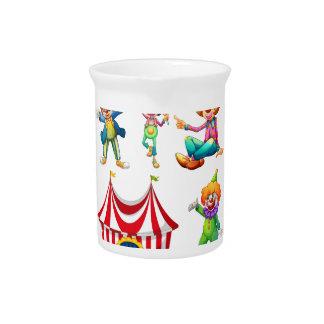 Payasos y tienda de circo inconsútiles jarrón