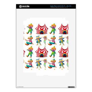 Payasos y tienda de circo inconsútiles pegatinas skins para iPad 3