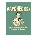 Paychecks: Sense of Humor Postcard