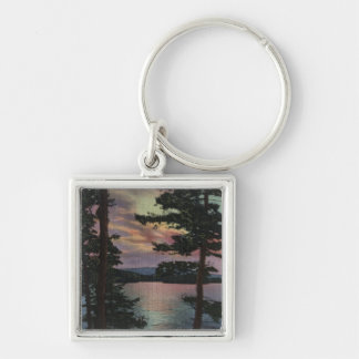 Payette Lake, ID - Evintide on Lake Scene Silver-Colored Square Keychain