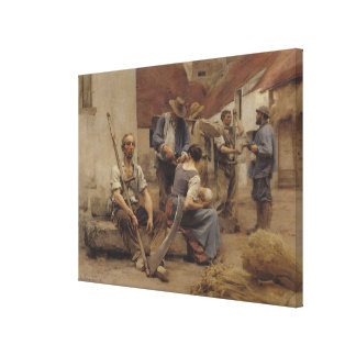 Paying the Harvesters, 1882 Canvas Print