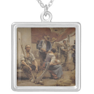 Paying the Harvesters, 1882 Silver Plated Necklace
