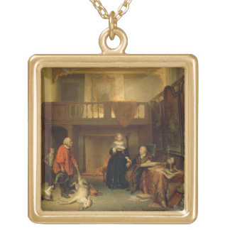 Paying the Tithe (oil on panel) Square Pendant Necklace