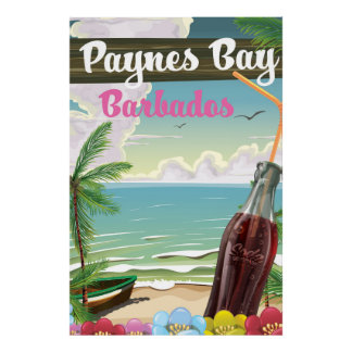 Paynes Bay Barbados vintage style travel poster