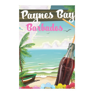 Paynes Bay Barbados vintage style travel poster Canvas Print