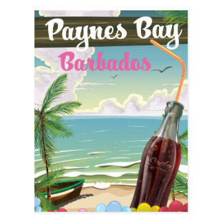 Paynes Bay Barbados vintage style travel poster Postcard