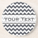 Paynes Grey Chevron with Custom Text Beverage Coaster