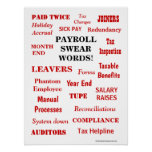 Payroll Swear Words Funny Annoying Terms Office Poster