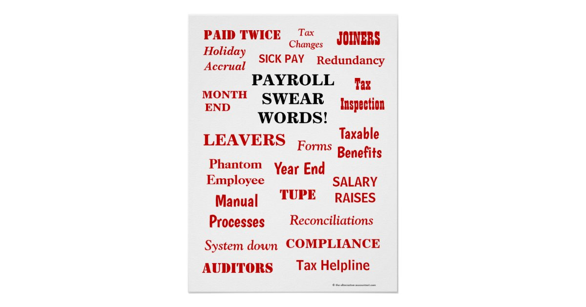 Payroll Swear Words Funny Annoying Terms Office Poster ...