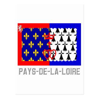 Pays-de-la-Loire flag with name Postcard