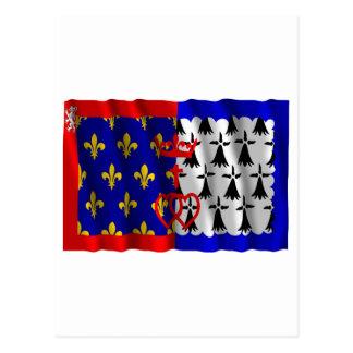 Pays-de-la-Loire waving flag Postcard