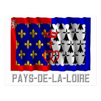 Pays-de-la-Loire waving flag with name Postcard