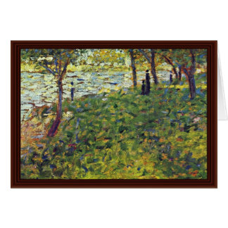 Paysage Et Personnages By Seurat Georges Greeting Cards