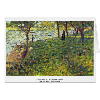Paysage Et Personnages By Seurat Georges Card