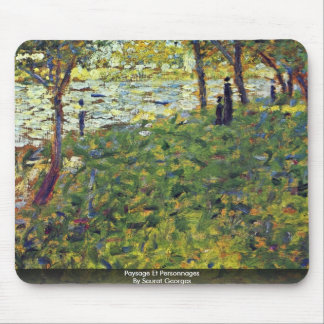 Paysage Et Personnages By Seurat Georges Mouse Pads
