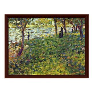 Paysage Et Personnages By Seurat Georges Post Card