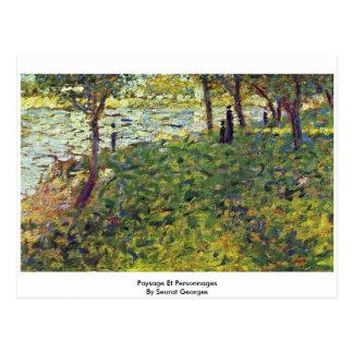 Paysage Et Personnages By Seurat Georges Postcard