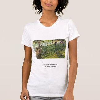 Paysage Et Personnages By Seurat Georges T-shirt