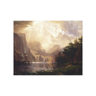 Paysage painting of water and mountains on canvas