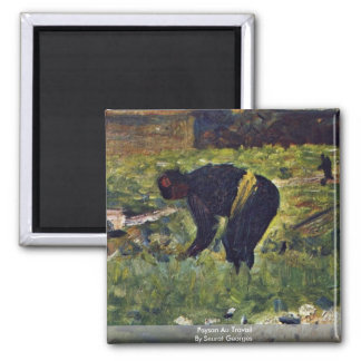 Paysan Au Travail By Seurat Georges Refrigerator Magnet