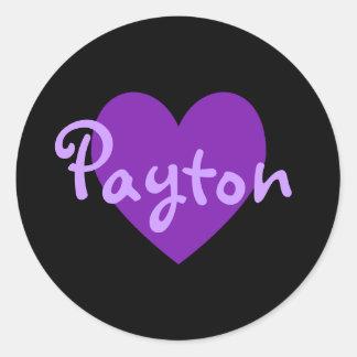 Payton en púrpura pegatina redonda
