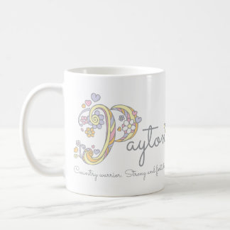 Payton letter p name meaning monogram mug