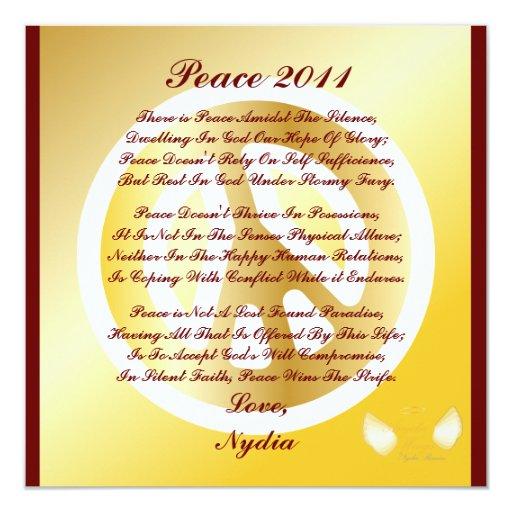 """Paz 2011, un Tarjeta-Personalizar del poema Invitación 5.25"""" X 5.25"""""""
