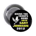 Paz 2012 de Gary Johnson Pin Redondo De 2 Pulgadas