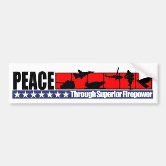 Paz a través de la pegatina para el parachoques su etiqueta de parachoque